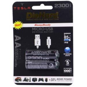 خرید باتری قلمی تسلا - قابل شارژ به همراه کابل میکرو USB